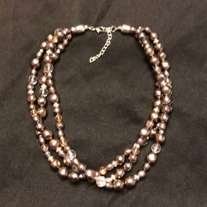 Beaded triple loop necklace